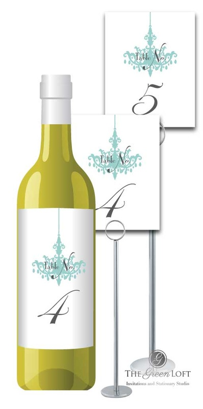 The Green Loft: Tiffany Blue Table Number Wine Labels/Table Number Cards