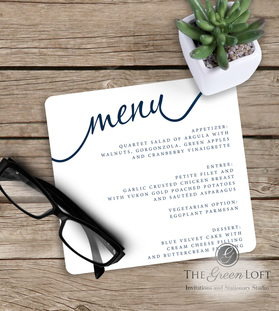 The Green Loft: Modern Day Romance Menus
